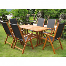 International Caravan Royal Tahiti Figueras Yellow Balau Wood Rectangular 7 Piece Outdoor Dining Set
