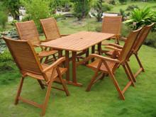 International Caravan Royal Tahiti Granada Yellow Balau Wood Rectangular 7 Piece Outdoor Dining Set