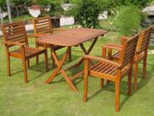 International Caravan Royal Tahiti Seva Yellow Balau Wood Rectangular 5 Piece Outdoor Dining Set