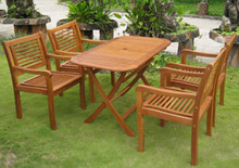 International Caravan Royal Tahiti Sitges Yellow Balau Wood Rectangular 5 Piece Outdoor Dining Set