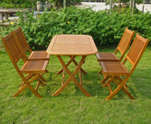 International Caravan Royal Tahiti Melilla Yellow Balau Wood Rectangular 5 Piece Outdoor Dining Set