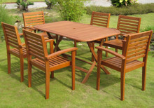 International Caravan Royal Tahiti Vilanova Yellow Balau Wood Rectangular 7 Piece Outdoor Dining Set