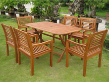 International Caravan Royal Tahiti Girona Yellow Balau Wood Rectangular 7 Piece Outdoor Dining Set