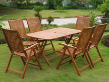 International Caravan Royal Tahiti Aviles Yellow Balau Wood Rectangular 7 Piece Outdoor Dining Set