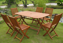 International Caravan Royal Tahiti Galende Yellow Balau Wood Rectangular 7 Piece Outdoor Dining Set