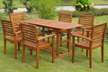 International Caravan Mataro Yellow Balau Wood Rectangular 7 Piece Outdoor Dining Set