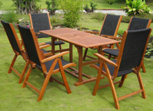 International Caravan Royal Tahiti Berga Yellow Balau Wood Rectangular 7 Piece Outdoor Dining Set