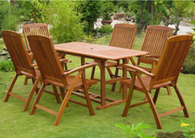 International Caravan Royal Tahiti Guissona Yellow Balau Wood Rectangular 7 Piece Outdoor Dining Set