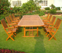International Caravan Royal Tahiti Navarre Yellow Balau Wood Rectangular 9 Piece Outdoor Dining Set