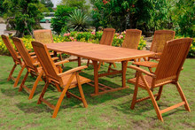 International Caravan Royal Tahiti Cardena Yellow Balau Wood Rectangular 9 Piece Outdoor Dining Set