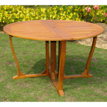 International Caravan Royal Tahiti Yellow Balau Hardwood 51.5-inch Outdoor Round Gateleg Dining Table