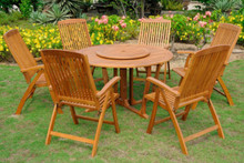 "International Caravan Royal Tahiti 7-Piece 51.5"" Round Gateleg Dining Set With Sarragossa Dining Arm Chairs and Lazy Susan"