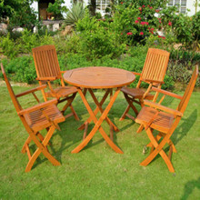 International Caravan Royal Tahiti 5-Piece Yellow Balau Wood 36-inch Round Folding Dining Set