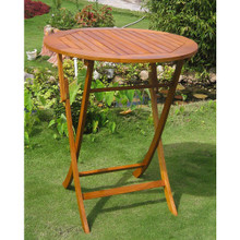 International Caravan Royal Tahiti Yellow Balau Outdoor 36-inch Bar-height Round Folding Bistro Table
