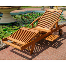 International Caravan Royal Tahiti Yellow Balau Wood Chaise Lounge With Multi-Sectional Deck
