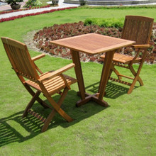 International Caravan Royal Tahiti Yellow Balau Hardwood 3-Piece Outdoor Bistro Set