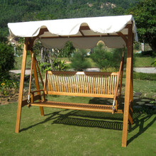 International Caravan Royal Tahiti Yellow Balau Hardwood 3-seater A-Frame Canopy Swing