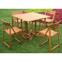 "International Caravan Royal Tahiti Galveston Yellow Balau Wood Stowaway 5 -Piece 36"" Square Outdoor Dining Set"