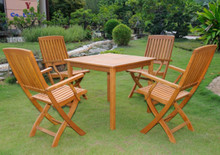 International Caravan Royal Tahiti Benevente Yellow Balau Wood 5-Piece Outdoor Dining Set