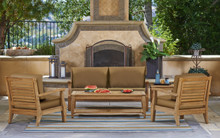 Forever Patio 4 Piece Miramar Plantation Teak Sofa Set Sunbrella Cast Ash With Self Welt