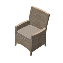 Forever Patio Barbados Resin Wicker Dining Arm Chair Biscuit, Canvas Taupe With Canvas Linen Canvas Welt Sunbrella Fabric