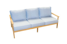 Forever Patio Hambrick Teak Hardwood 3 Seat Sofa Sunbrella Cast Horizon