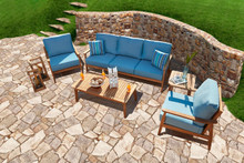 Forever Patio 5 Piece Hambrick Teak Hardwood Sofa Set
