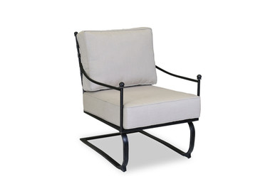 Provence Club Rocker With Cushions In Canvas Flax With Self Welt