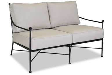 Provence Loveseat With Cushions In Canvas Flax With Self Welt