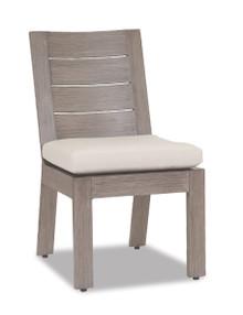 Laguna Armless Dining Chair with cushions in Canvas Flax