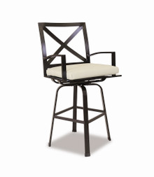 La Jolla Swivel Barstool with cushions in Canvas Flax with self welt