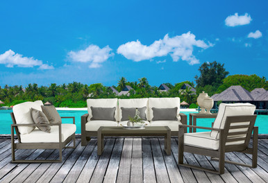 South Sea Rattan Ryan 5 Piece Deep Seating Aluminum Outdoor Living Set