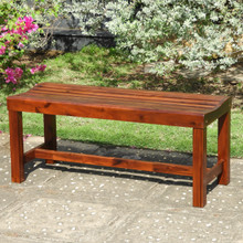 International Caravan Highland Acacia Americana 55-inch Backless Bench with Contoured Seat