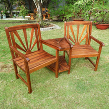 International Caravan Highland Acacia Sapporo Tete-a-Tete Double Conversational Chair