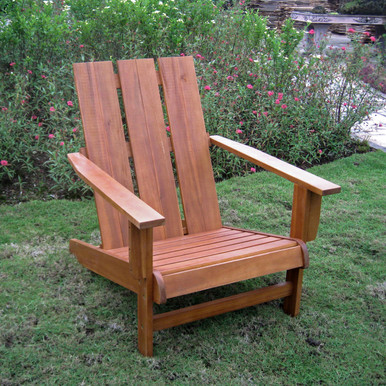 International Caravan Highland Acacia Large Square Back Adirondack Chair Rustic Brown