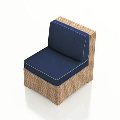 Forever Patio Hampton Wicker Sectional Middle Chair Biscuit Sunbrella Spectrum Indigo With Spectrum Dove Welt