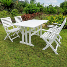International Caravan Royal Tahiti Ispica Acacia Wood Rectangle 5 Piece Outdoor Dining Set