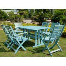 International Caravan Royal Tahiti Sciacca Acacia Wood Rectangle 7 Piece Outdoor Dining Set Sky Blue