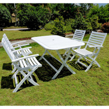 International Caravan Royal Tahiti Potenza Acacia Wood Rectangle 5 Piece Outdoor Dining Set