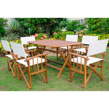 International Caravan Royal Tahiti Cariati Acacia Wood Rectangle 7 Piece Outdoor Dining Set Stain