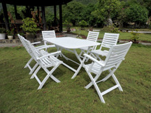 International Caravan Royal Tahiti Isernia Acacia Wood Rectangle 7 Piece Outdoor Dining Set Antique White