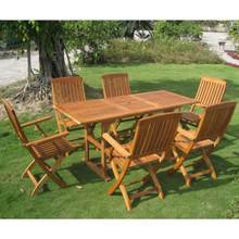 International Caravan Royal Tahiti Bascara Yellow Balau Wood Rectangle 7 Piece Outdoor Dining Set