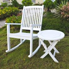 International Caravan Royal Tahiti Nicosia Acacia Wood Rocker and Side Table Antique White