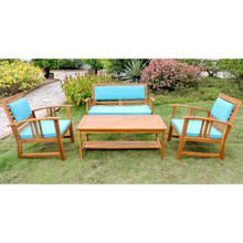 International Caravan Royal Tahiti Brisbane Acacia Wood 4 Piece Settee Group with Cushions Aqua Blue