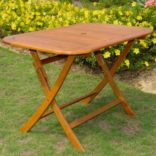 International Caravan Royal Tahiti Acacia Wood Rectangular Folding Dining Table Stain