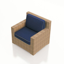 Forever Patio Hampton Wicker Club Chair Biscuit Sunbrella Spectrum Indigo With Spectrum Dove Welt