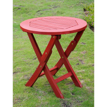 International Caravan Royal Tahiti Acacia Wood Round Folding Table Barn Red