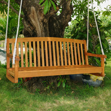 "International Caravan Royal Tahiti Acacia Wood 59"" 3-Seater Swing"