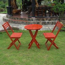 International Caravan Royal Tahiti Acacia Wood Folding Bistro Set Barn Red