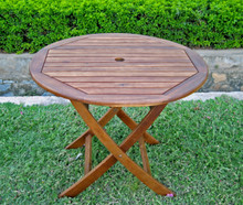 "International Caravan Royal Tahiti Acacia Wood 38"" Round Folding Table With Curved Legs"